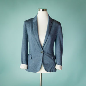 Anthro Cartonnier XS Blue Jersey Knit Blazer
